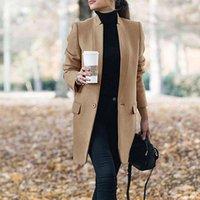 Женщины траншеи длинные пальто шерстяные смеси зимние весны отворотный рукавные пальто офисные дамы твердое тонкое пальто