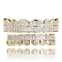 Baguette Gold Plated with Diamond Teeth Grillz Top & Bottom Silver Color Bling AAA Cubic Zircon Grills Dental Mouth Hip Hop Fashion Jewelry Rapper Gift
