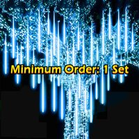 LED Meteor Shower Rain Lights 80cm x8 Waterproof Outdoor 576pcs LED for Christmas Tree Holiday Party Wedding Party Decoration New Year Garden Patio