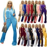 Donne Velluto Sweatsuit Set Set TrackSuits Solid Due pezzi Abiti Zipper Velour Pocket Tasca anteriore Manica Lunga Della Manica Lunga Pantalone Pant Pant Set 15 Colori