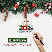 W magazynie Kwarantanin Spersonalizowany Boże Narodzenie 2021 Dekoracja DIY Wiszące Ornament Cute Żywicy Snowman Wisiorek Dystansowy Społeczny Party DHL Szybka Dostawa Dostawa