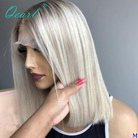 Lace Wigs Ashy Grey Blonde Human Hair Front Wig Short Bob Straight Platinum White Highlights 13x1 Chinese Virgin 150% Qearl