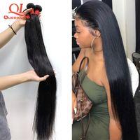 QueenLife 28 30 32 34 38 38 40 pouces Coiffures droites Bundles Peruvian Cheveux Bundles Remy Human Hair Weave Silky 1/3/4 pièces