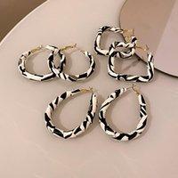 Hoop & Huggie Europe And America Fashion Female Jewelry Personality Simple Striped Leather Geometric Earrings