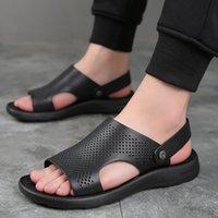 여름 남성 가죽 정품 샌들 남자 새로운 캐주얼 편안한 해변 신발 맨발 샌들 남자 성인 슬라이드 Pentoufle Homme