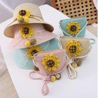 Chapeau de protection solaire de Sunflower pour enfants avec sac à main sac de paille Cap Filles Visière Visière Visière UV Panama Wide Drapeaux