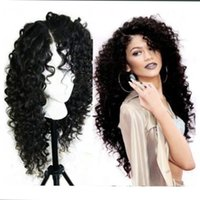 Fashion Natural Black Long Kinky Curly Full Hair Cheap Synthetic Lace Front Wigs Baby Hair Heat Resistant Fiber Soft Lace Wigs Black Women