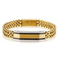 Enlace, cadena 10 mm de ancho pulsera de acero inoxidable de acero inoxidable color plateado pulsera enlace de malla con corchete de imán accesorios de joyería masculina regalos