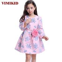 Vestidos da menina vimikid outono europeu e americano roupas infantis meninas vestido princesa crianças manga longa impressão k1