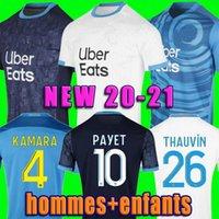 Marseille Soccer Jersey Olympique de 20 21 Om 2020 2021 Mailot Foot Alfitular Thauvin Benedetto Kamara Payet Football Shirts Homens + Kids Kit