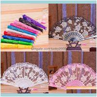 Sonnenschirme, Ereignisse zehn Farben Spitze Blume Braut Hand Fans Vintage Hohl Bambus Griff Asoresen Hochzeit Geschenk Party Favors F8209 C85AY