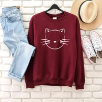 Cat Graphic Women Fashion Pure Casual Kawaii Cute Young Hipster Girl Gift Street Party Style Tumblr Sweatshirt Tops- L379 Women's Hoodies &