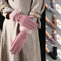 Five Fingers Gloves Winter Women Outdoor Cycling Cashmere Thicken Windproof Warm Cute Bow Velvet Waterproof Touch Screen Driving Mittens
