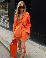 Women's Tracksuits Summer Two-piece Set Orange Fashion Shirt Top Elastic High Waist Shorts Chic 2-piece