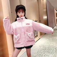 Jackets Designer Original Woolen Jacket For Girls Winter Warm Fleece Coat Pink Lambswool Cardigan Children Thick Outerwear 4 8 12 Years