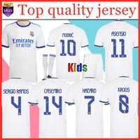 Podsycal Real Madrid الفانيلة 21 22 كرة القدم قميص كرة القدم هالاند سيرجيو راموس بنزيما كاميسيتا الرجال + أطفال كيت 2020 2021