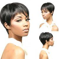 Бразильские человеческие волосы Pixie Cut Tracks 6 дюймов натуральный цвет Короткие машины сделаны парик 130% плотность не реми