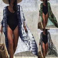 Women's Swimwear Women' SBeachwear Long Sunscreen Shirt Tie-dye Print Cardigan Beach Bikini Coat Fashion Summer Blouse Tops Swimming Beachwe