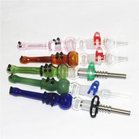 Smoking Nectar Collector Glass Pipes Kit with quartz Tip 14mm Invert Nail smoke Pipe dabber tools silicone tips