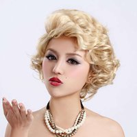 الباروكات الذهبية قصيرة مجعد الشعر رقيق الفتاة المائل الانفجارات مارلين مونرو الكلاسيكية المرأة شعر مستعار
