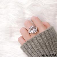 جديد تألق خمر مجوهرات زوجين خواتم 925 فضة كبيرة البيضاوي قطع الماس النساء الزفاف خاتم الزفاف مجموعة هدية