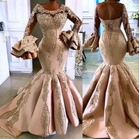 2021 Arabic Aso Ebi Champagne Luxurious Mermaid Prom Dresses Lace Crystal Beaded Evening Dress Long Sleeves Formal Party Second Reception Gowns