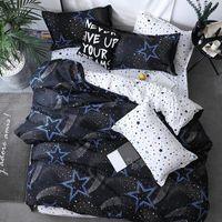 55 Black Star Cama de linho de alta qualidade 3/4 pcs conjunto de cama de camas de edredão capa lisa folha de cama fronha macio gêmeo único Rei Rei 210319