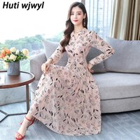 Plus Size Pink Casual Midi Dress 2021 Vintage Floral Chiffon Boho Beach Maxi Autumn Winter Women Bodycon Party Vestido Dresses