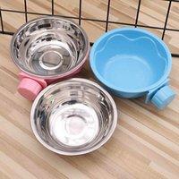 PET Besleme Sabit Kase Paslanmaz Çelik Kafes Su Besleyici Köpek Kedi Bowls Besleyiciler