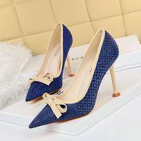 Платье Обувь BigTree Weave Женщина Насосы Луч Высокие каблуки Женщины Стелето 9,5 см Модные Дамы