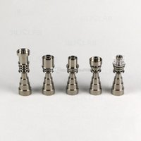 2021 10mm 14mm 19mm 6 IN 1 domeless Smoking electric titanium nails Male Female Tobacco nail Ti with Carb Cap For glass bong