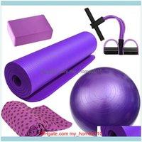 Fournitures de tapis à l'extérieur5pcs Kit Kit de yoga balle de serviette antidérapante MAT Accueil Sports Fitness exercice ESISISTANCE TOOL1 DROP Livraison 2021 68AQ5