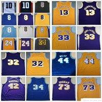 Retro Vintage Kareem 33 Abdul Jabbar Basketbol Jerry 44 West James 42 Worthy Wilt 13 Chamberlain Dennis 73 Rodman Jersey
