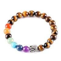 7 Bracelet de chakra Reiki Pierre naturelle Perles de cristal violet Bracelets Perles d'énergie Yoga Bracelet Hommes Femmes Tiger Eye Stone B 54 K2