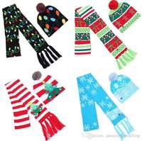 LED Christmas knitted Hat Scarf Set kid Adults Santa Claus Snowman Reindeer Festivals Hats Christmas Decorations party hats 4 Colors