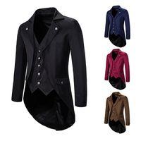 남성복 해군 빈티지 테일 코트 재킷 Steampunk 정식 중세 고딕 양식의 빅토리아 코트 의상 파티 코스프레 댄스 파티 블레이저 남자 XXL