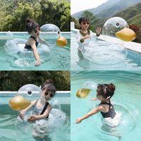 ins net 연예인 두꺼운 어린이 물 공원 투명한 오리 겨드랑이 좌석 반지 유아 및 유아 재고 수영 용품 장난감