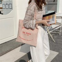 Evening Bags Paris Letters Canvas Shoulder Shopping Bag For Women Eco Cotton Linen Shopper Cloth Fabric Travel Totes Girls Handbags
