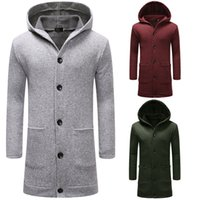 Men's Jackets Fashion Snowflake Ice Silk Lengthened Thick Men Button Cardigan Sweater W43