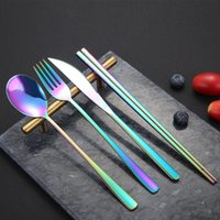 الكورية أطباق مجموعات المقاوم للصدأ طويل مقبض سكين سكين شوكة ملعقة عيدان مجموعة ملونة أطباق للزفاف اكسسوارات المطبخ FWB8615