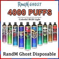 Randm Ghost Jetable Pod E-Cigarettes Kit 4000 Puffs 8ML Pods pré-remplis 65MAH USB Rechargeable Batterie rechargeable Barre de stick Barre de stick avec Colorful RVB Light vs Plus Max