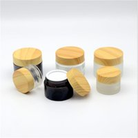 Frosted Glass Jar Skin Care Eye Cream Bottle Refillable Cosmetic Container Amber Brown Clear Bottles with Inner Liners and Plastic Wood Grain Lid
