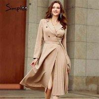 Simplee повседневный костюм воротник осень женское платье с длинным рукавом офис леди асимметричное длинное платье тонкий с поясом a-line женское платье 210311