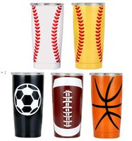 20OZ 30OZ Baseball Tumbler Mugs Softball Basketball Football Stainless Steel Cups Car Beer Cups Vacuum Insulated Mugs 11style BWB10186