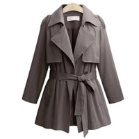 Women's Trench Coats Large Size 2021 Autumn And Winter Lapel Long-sleeved Tie Windbreaker Jacket