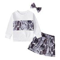 Clothing Sets Baby Girls Clothes Snakeskin Print Long Sleeve Pullover Sweatshirt Tops A-Line Skirts Headband Set