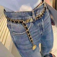 Corrente de couro personalizado do desenhista Cintura longa Metal elegante cinto de pingente