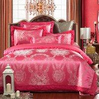 Set di biancheria da letto di lusso rosa satinato jacquard duvet 4 pezzi trapunta / consolatore cover cover lenzuolo letto romantico set floreale federa regina king size