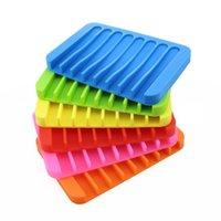 Porta sapone Silicone Anti-slip Saponi antiscivolo Piatti Candy Soft Soapholder Rack Plate Plate Table Rettangolo Caso contenitore Bagno Organizer WLL263