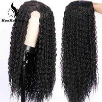 Sintético Afro Kinky encaracolado para mulheres negras longas ondas profundas calor resistente ao calor metade mão amarrada cosplaly perucas festa